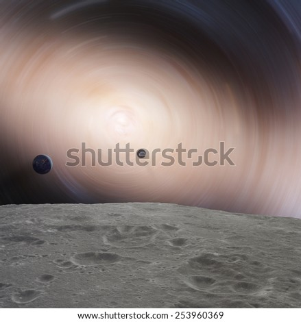 Galaxy as seen from the Moon-like surface planet. Elements of this image furnished by NASA. - stock photo