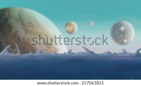 Galaxy. Backdrop of planets. Digital background raster illustration.  - stock photo