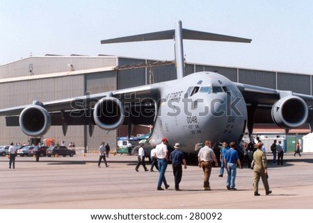 Galaxy cargo plane at air-show - stock photo