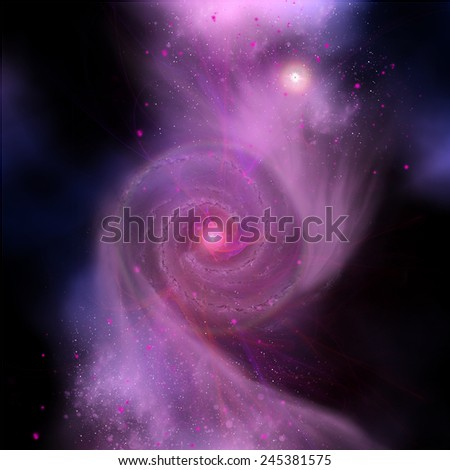 Galaxy Collision - In billions of years the Milky Way Galaxy and Andromeda Galaxy will collide into one super galaxy. - stock photo