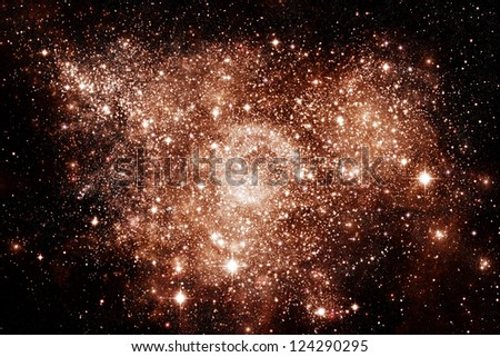 Galaxy eruption in deep outer space - stock photo