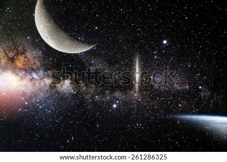 galaxy nature background. Elements of this image furnished by NASA - stock photo