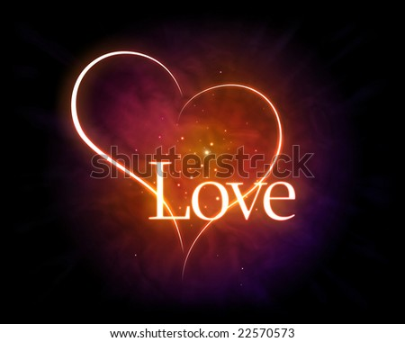 Galaxy of Love with shining Heart Shape. - stock photo