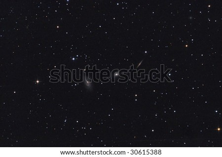 Galaxy Trio in Draco constellation - stock photo