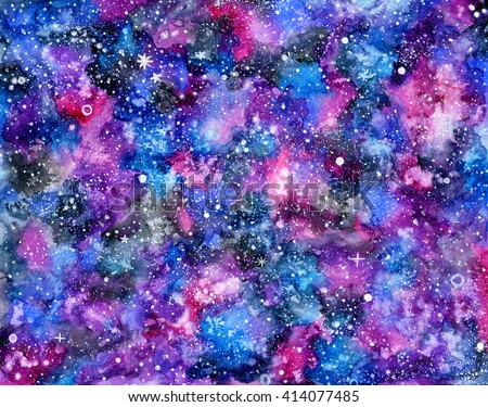 Galaxy. Watercolor space or cosmic background. Hand-drawn decorative element useful for invitations, scrapbooking, design. Real watercolor drawing
