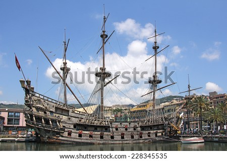 Galeone Neptune old wooden ship, tourist attraction in Genoa - stock photo