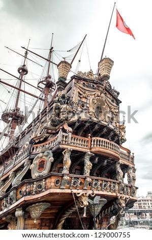 Galeone Neptune ship, tourist attraction in Genoa. The ship was built in 1985 for Roman Polanskis film Pirates.Italy - stock photo