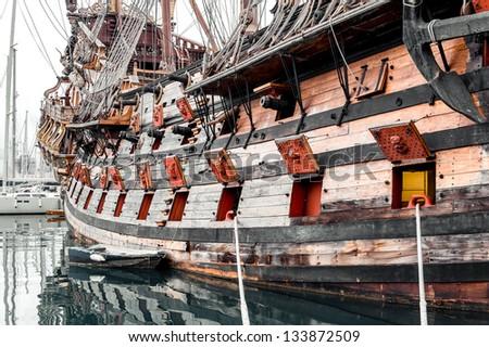 Galeone Neptune ship, tourist attraction in Genoa. The ship was built in 1985 for Roman Polanskis film Pirates Italy - stock photo