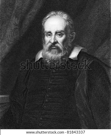 Galileo Galilei (1564-1642). Engraved by R.Hart and published in The Gallery Of Portraits With Memoirs encyclopedia, United Kingdom, 1833. - stock photo
