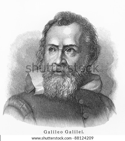 Galileo Galilei - Picture from Meyers Lexicon books written in German language. Collection of 21 volumes published  between 1905 and 1909. - stock photo