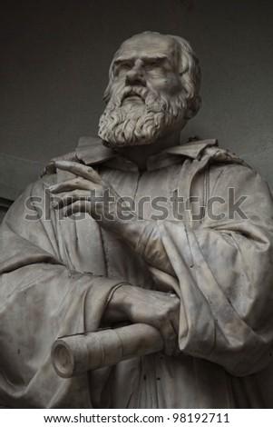 Galileo Galilei.Statue outside the Uffizi, Florence. Italy - stock photo