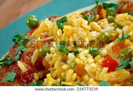 Galinhada -  stew  chicken,  typical Brazilian dish. rice made with chicken, saffron, and vegetables,  - stock photo