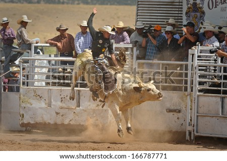 Galisteo, New Mexico, USA, July 21, 2013 Bull Rider Gets Airborne- A cowboy challenges a 2,000 bull during the 42nd Annual Rodeo de Galisteo. - stock photo