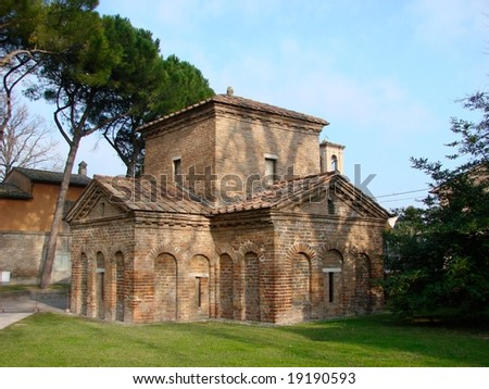 Galla Placidia Mauseleum in Ravenna, famous for its mosaics. - stock photo
