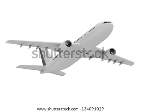 Gallant white passenger airliner. Bottom view of the engines and wings of the plane - stock photo