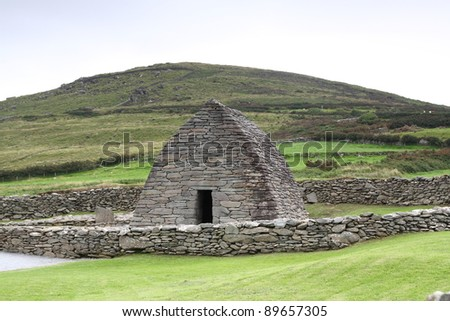 Gallarus oratory Dingle peninsula Ireland - stock photo