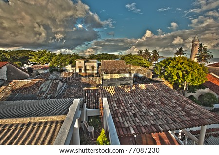 Galle Fort, saturated Rooftop HDR of the old city in Galle Bay, South Sri Lanka! - stock photo