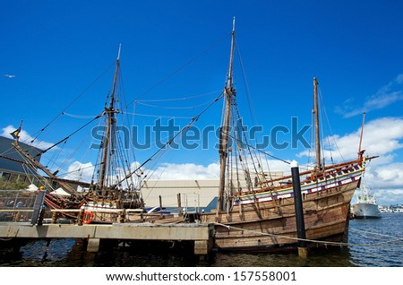 Galleon at Fremantle harbour, Western Australia - stock photo