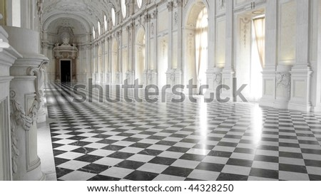 Galleria di Diana at Reggia di Venaria, near Turin - (16:9 ratio) - stock photo