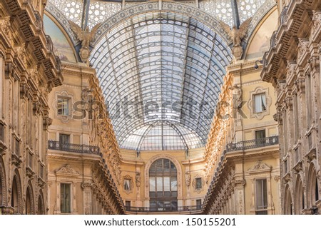 Galleria vittorio Emanuele: historic shopping hall near the dome in MIlan Italy - stock photo