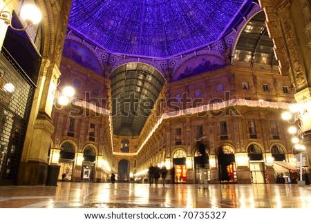 Galleria Vittorio Emanuele shopping Center in Milan, Italy - stock photo