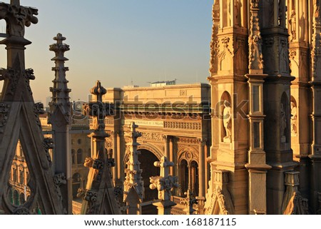 Galleria Vittorio Emanuele.View from Duomo Cathedral. Milan,Italy. - stock photo