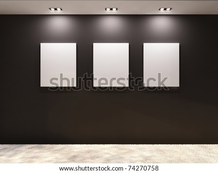 Gallery. Empty frames on a black wall in interior - stock photo