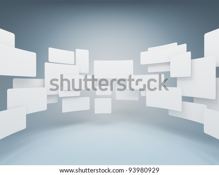 Gallery empty squares - stock photo