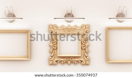 Gallery Exhibition Oldfashioned Empty Picture Frame Ilustración de ...