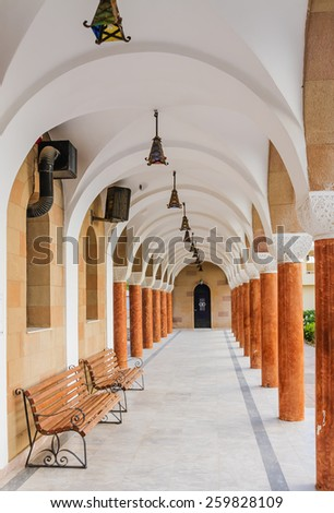 Gallery in the Church of Saint Nektarios. Faliraki. Island Rodos.Gretsiya .. - stock photo