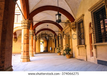 Gallery in the courtyard of the Palazzo Comunale in Bologna. Italy