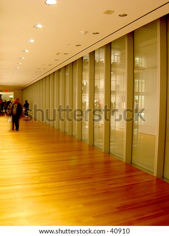 Gallery interior of a new museum - stock photo