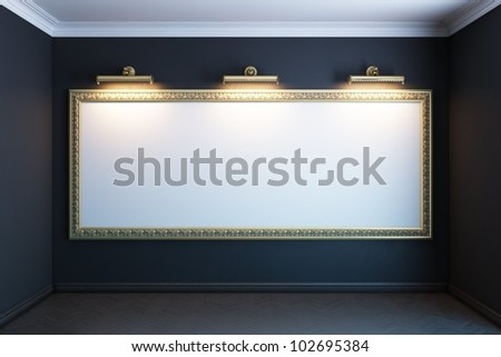 gallery interior with big golden empty frame and lighters (black version)