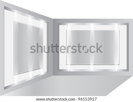 Gallery Interior with empty frames on wall, illustration - stock photo