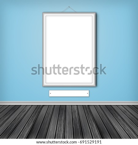 Gallery interior with one empty frame on wall. 3D illustration