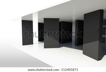 Gallery Interior with vertical black partition - stock photo
