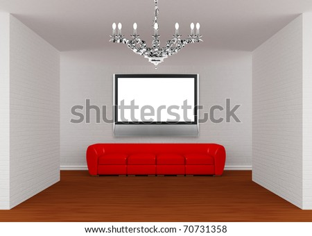 Gallery's hall with red sofa, silver chandelier and flat TV