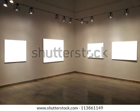 Gallery walls with blank frames - stock photo