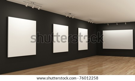 gallery with blank canvases on the walls - stock photo