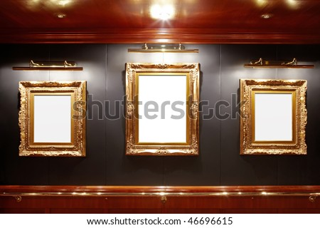 Gallery with blank frames - stock photo