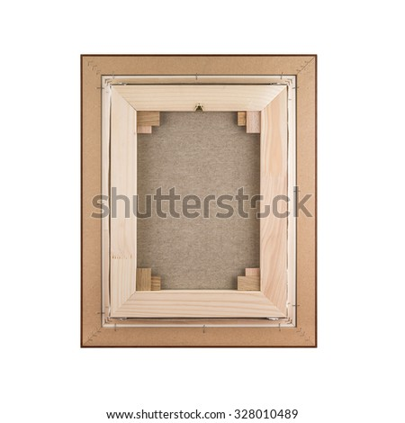 Gallery wrapped blank canvas in wooden frame construction - stretcher bar frames back side isolated on white