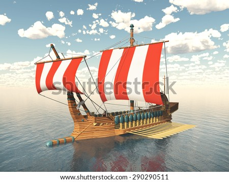 Galley from ancient Greece Computer generated 3D illustration - stock photo