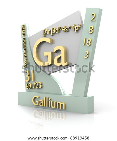 Gallium form Periodic Table of Elements - 3d made - stock photo