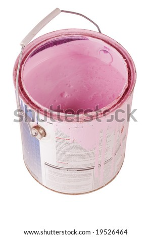 Gallon can of pink paint isolated with clipping path - stock photo