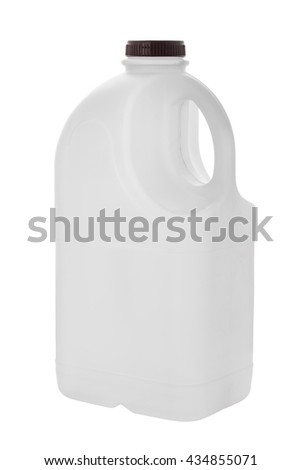 gallon milk bottle plastic containers on white background - stock photo