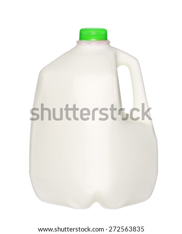 gallon Milk Bottle with green Cap Isolated on White Background.