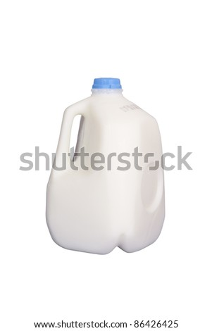 Gallon of milk, isolated w/clipping path - stock photo