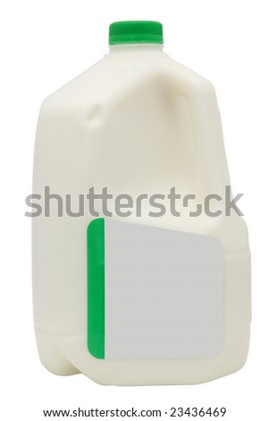 Gallon of milk with clipping path and add text label. - stock photo