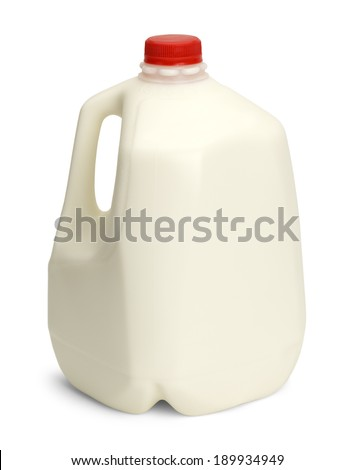 Gallon of Whole Milk with Red Plastic Cap Isolated on White Background.