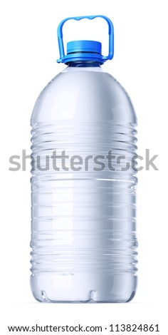 Gallon plastic bottle with water without label. Isolated on white. - stock photo
